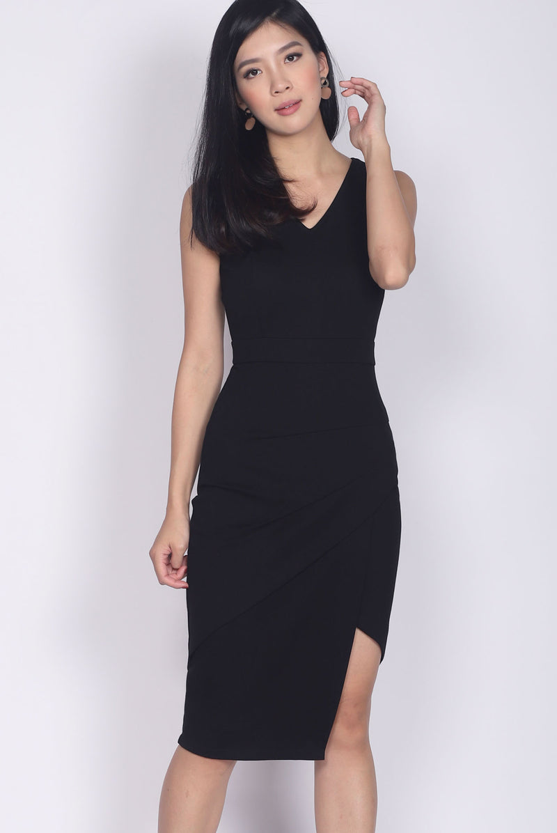 *Restock*Premium* TDC Jetta Origami Slit Dress In Black
