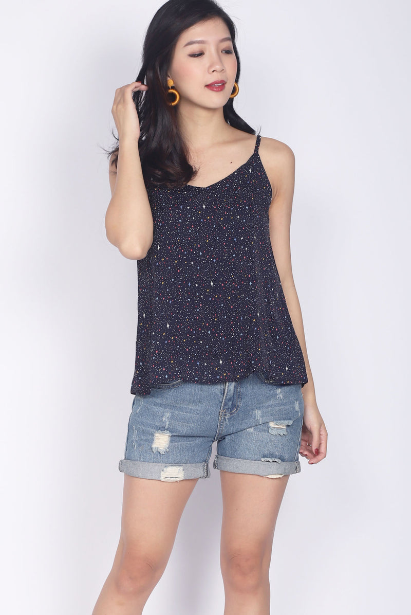 TDC Parris Cami Top In Navy Stars