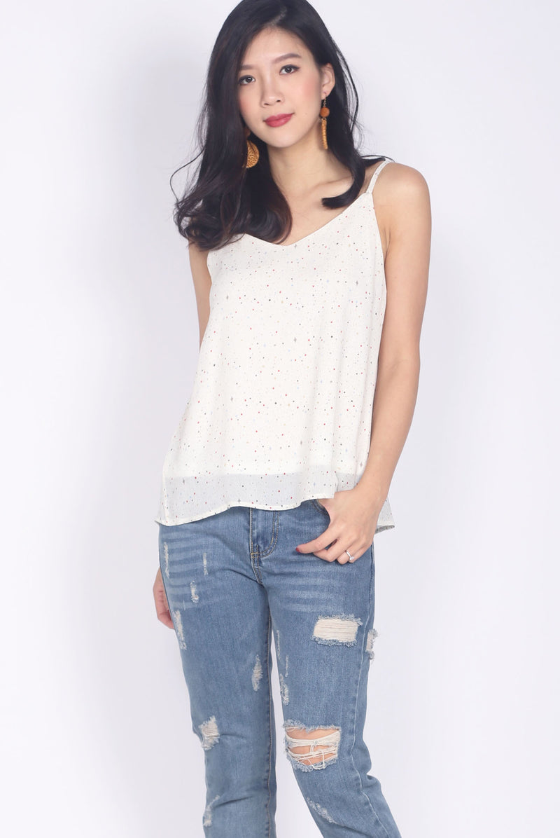 TDC Parris Cami Top In White Stars