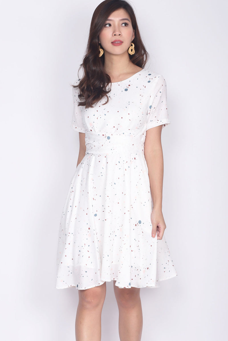 TDC Twilight Terrazzo Multi Ways Sash Swing Dress In White