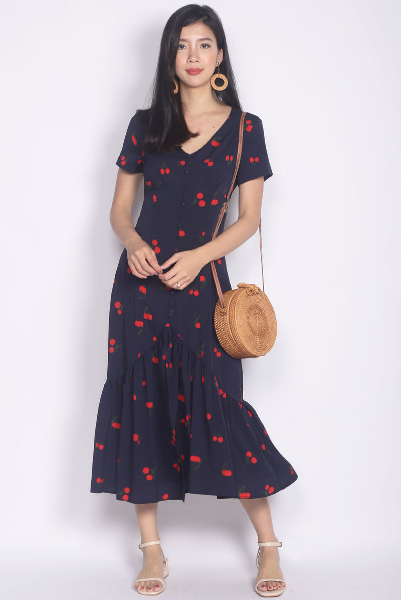Tenaya Buttons Slit Mermaid Maxi Dress In Navy Cherries