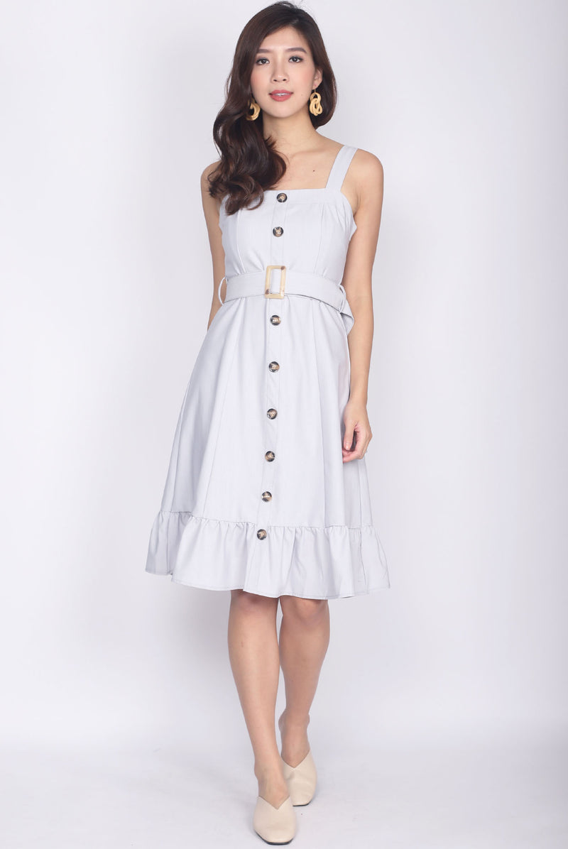 Umbelina Belted Buttons Dress In Light Grey
