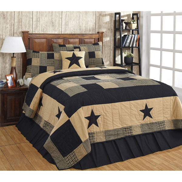 Jamestown Black and Tan Bedspread and Quilted Shams Set