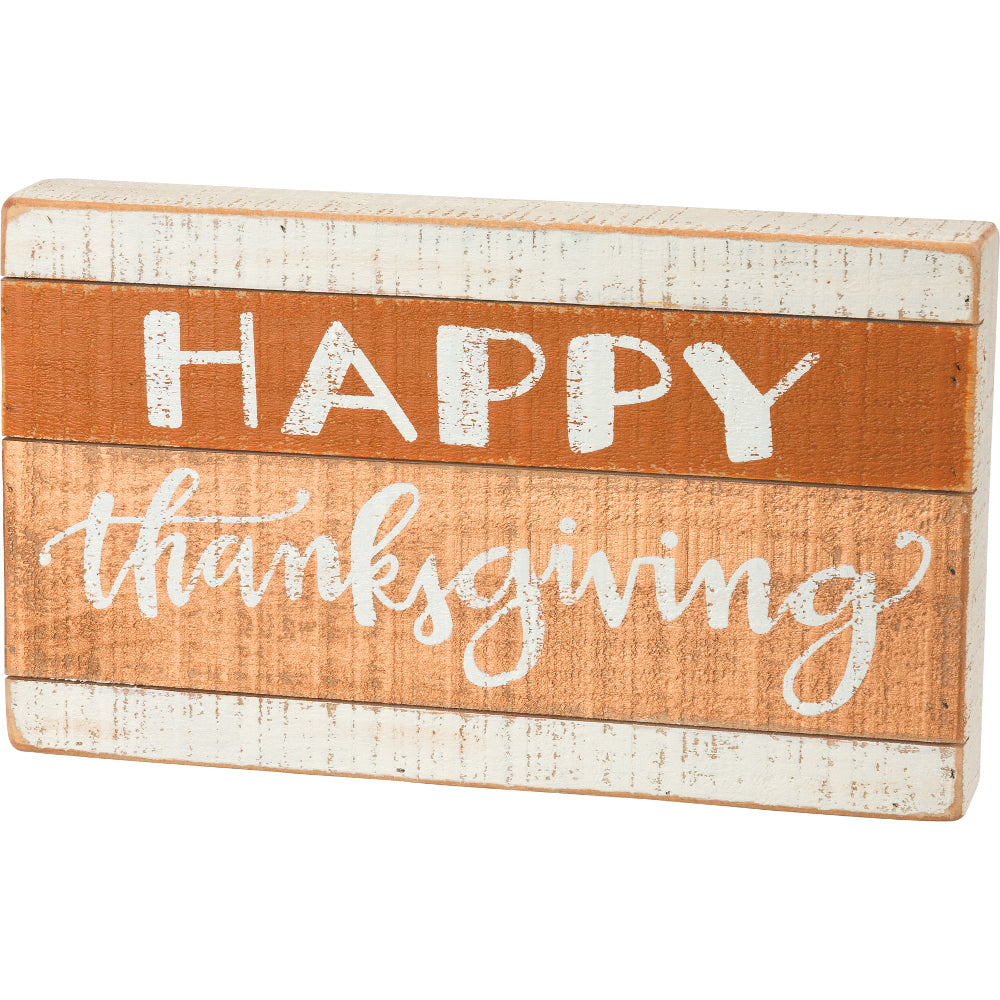 Happy Thanksgiving Slatted Wood Box Sign