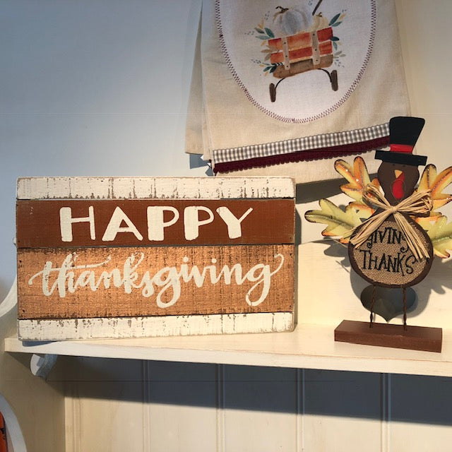 Happy Thanksgiving Slatted Box Art Sign