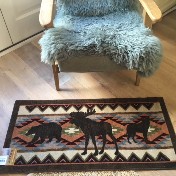 Moose Bear and Coyote Rug with Recycled Backing