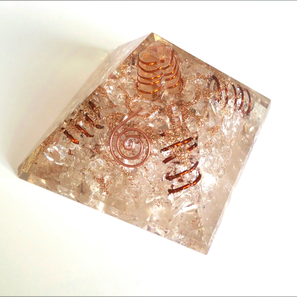 Clear Quartz Orgonite Pyramid w/Copper Springs and Crystal Point