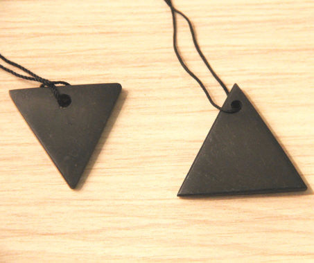 His/Hers Shungite Triangle Pendants