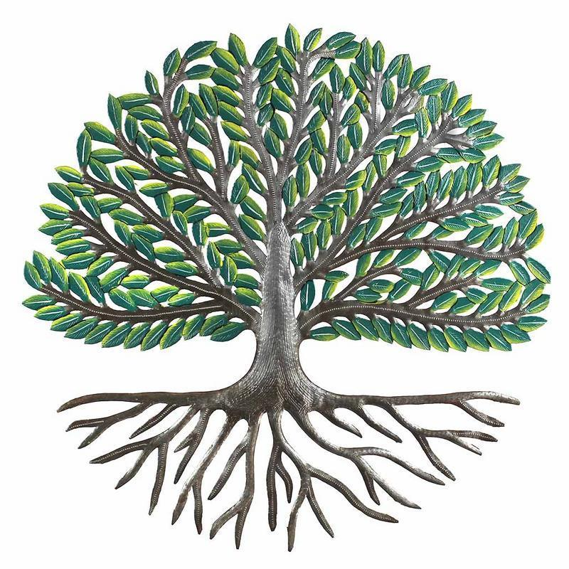 "24"" Tree of Life Wall Art with Green Painted Leaves"