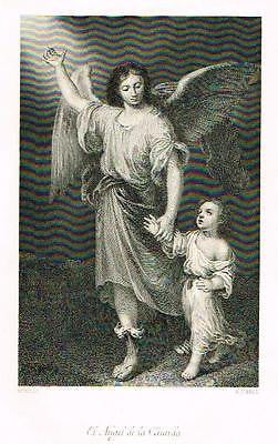 """Artists of Spain"" by Stirling-Maxwelll - ""ANGEL"" - Steel Engraving -1891"