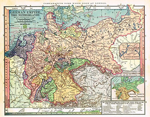 "Barnes's Geography - ""GERMAN EMPIRE & THE NETHERLANDS"" Chromolithographic Map by Monteith -1875"