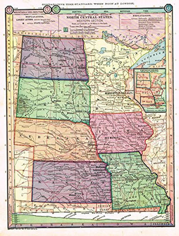 "Barnes's Geography - ""NORTH CENTRAL STATES - WESTERN SECTION"" Map by Monteith -1875"