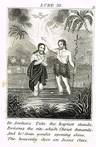 "Miller's Scripture History - ""JESUS BAPTISED BY JOHN THE BAPTIST"" - Copper Engraving - 1839"