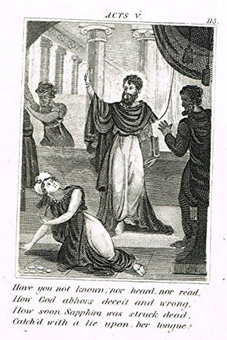 "Miller's Scripture History - ""HOW SOON SAPPHIRA WAS STRUCK DEAD"" - Engraving - 1839"