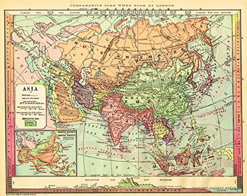 "Barnes's Geography - ""ASIA"" Chromolithographic Map by Monteith -1875"