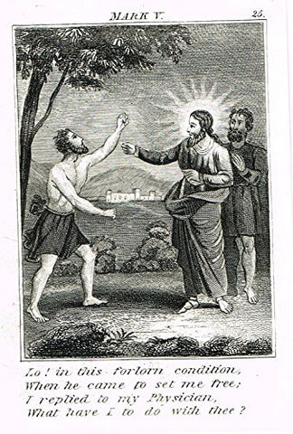 "Miller's Scripture History - ""HE CAME TO SET ME FREE"" - Small Religious Copper Engraving - 1839"