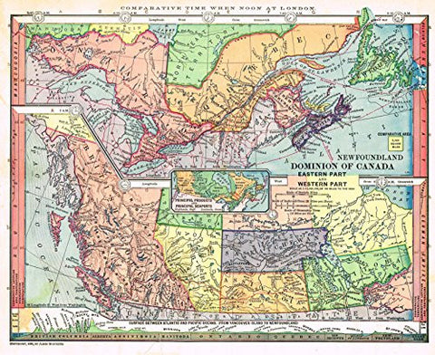"Barnes's Geography - ""DOMINION OF CANADA (EASTERN & WESTERN PARTS)"" Map by Monteith -1875"