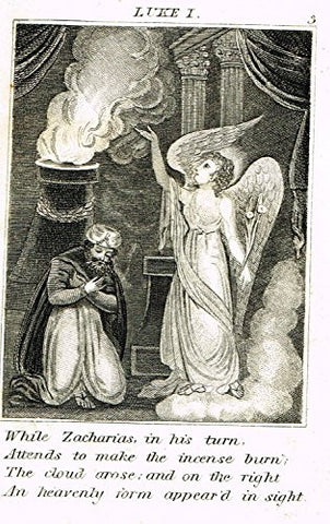"Miller's Scripture History - ""ANGEL APPEARS TO ZACHARIAS"" - Small Religious Copper Engraving - 1839"
