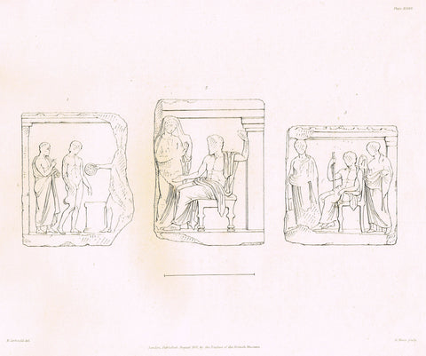 "Ancient Marble of the British Museum - "" THREE ROMAN FRAGMENTS"" - Plate XXXVII - Steel Engraving - 1841 - Sandtique-Rare-Prints and Maps"