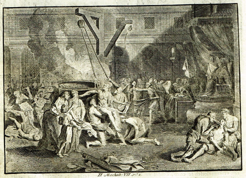 "Luyken Bible Print - ""CRUELTY AGAINST THE SEVEN BROTHERS"" - Copper Engraving - 1700"