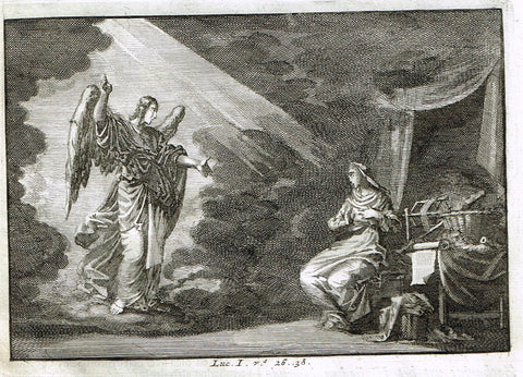 "Luyken Bible Print - ""GABRIEL'S MESSAGE TO MARIA - LUKE I"" - Copper Engraving - 1700"