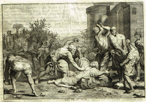 "Luyken Bible Print - ""STONING OF ST. STEVEN"" - Copper Engraving - 1700"