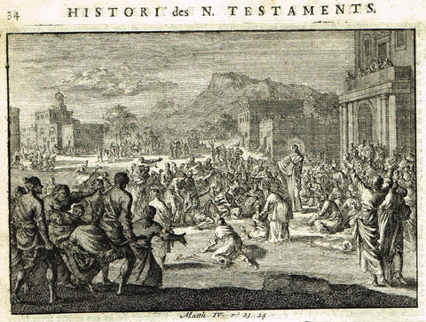 "Luyken Bible Print - ""JESUS HEALS THE SICK"" - Copper Engraving - 1700"