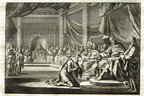"Luyken Bible Print - ""PLEADING TO KING HEROD"" - Copper Engraving - 1700"