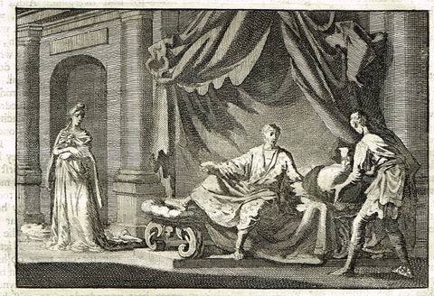 "Luyken Bible Print - ""ON THE DEATH BED"" - Copper Engraving - 1700"