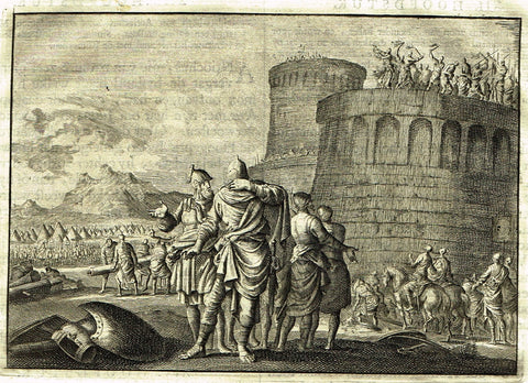 "Luyken Bible Print - ""ATTACKING THE CASTLE"" - Copper Engraving - 1700"