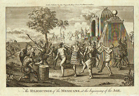 "Dr. Hurd's - ""REJOICINGS OF THE MEXICANS AT THE BEGINNING"" -  Copper Engraving - 1778"