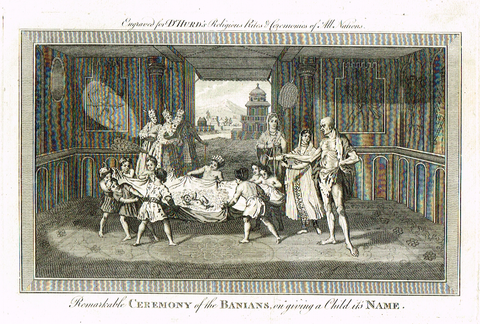 "Dr. Hurd's - ""REMARKABLE CEREMONY OF THE BANIANS"" -  Copper Engraving - 1778"