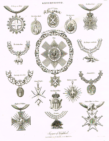 "Knighthood  - ""COLLAR OF THE ORDER OF THISTLE"" - Copper Engraving - 1812"