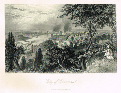 "Picturesque America's ""CITY OF CINCINNATI"" - Steel Engraving - 1872"
