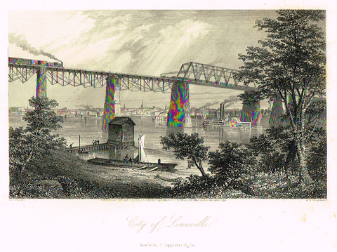 "Picturesque America's ""CITY OF LOUISVILLE"" - Steel Engraving - 1872"
