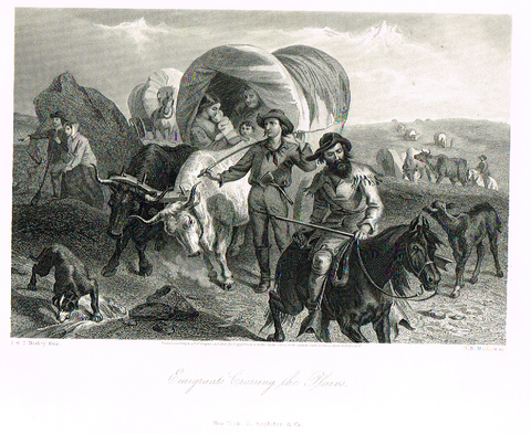 "Picturesque America's ""EMIGRANTS CROSSING THE PLAINS"" - Steel Engraving - 1872"