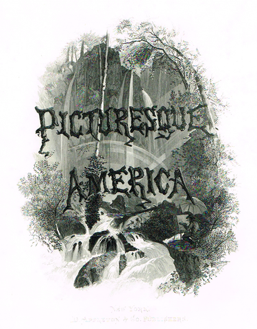 "Picturesque America Title Page ""WATERFALL & ARTIST"" - Steel Engraving - 1872"