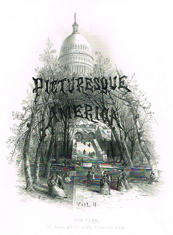 "Picturesque America Title Page ""THE CAPITAL, WASHINGTON"" - Steel Engraving - 1872"