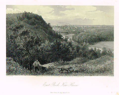 "Picturesque America's ""EAST ROCK NEW HAVEN"" - Steel Engraving - 1872"