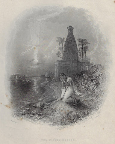 "Antique Steel Engraving ""THE HINDOO MOTHER"" - 1844"