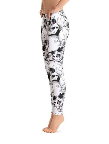 Image of Skull Cherry Flowers Leggings - Leggings Custom Made
