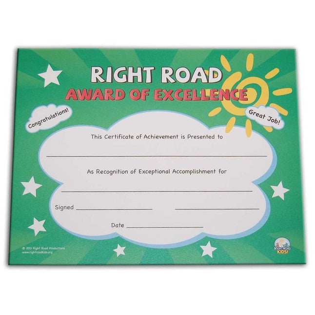 "Right Road 8.5""x11"" Award Certificates (36 Pack)"