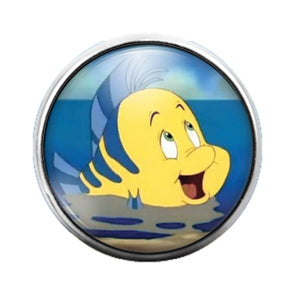 The Little Mermaid Flounder - 18MM Glass Dome Candy Snap Charm GD0696