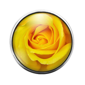 Rose Yellow- 18MM Glass Dome Candy Snap Charm GD1114