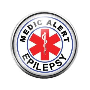 Epilepsy Medic Alert- 18MM Glass Dome Candy Snap Charm GD1022