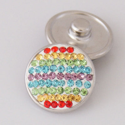 1 PC 18MM Rainbow Rhinestone Silver Candy Snap Charm KB2402 CC0197