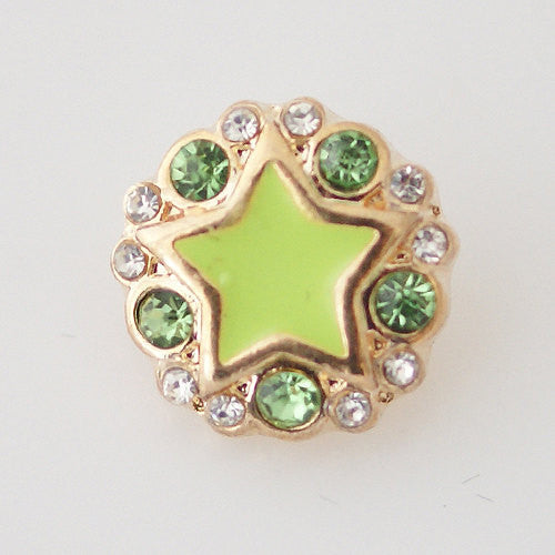 1 PC 12MM Green Star Enamel Rhinestones Silver Charm for Candy Snap Jewelry KB6515 CC0595