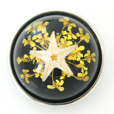 1 PC 18MM Black Starfish Set in Glass Silver Candy Snap Charm kg6009 CC1126
