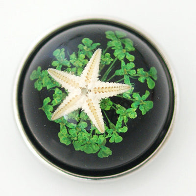 1 PC 18MM Green Black Starfish Set in Glass Silver Candy Snap Charm kg6015 CC1132