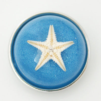 1 PC 18MM Blue Starfish Set in Glass Silver Candy Snap Charm kg6017 CC1134